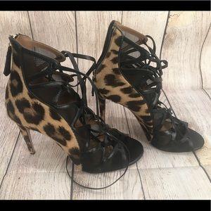 Aquazzura Firenze Leopard and Lace Up Heels 40 1/2